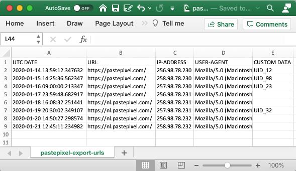 Voorbeeld CSV export van tracking URLs