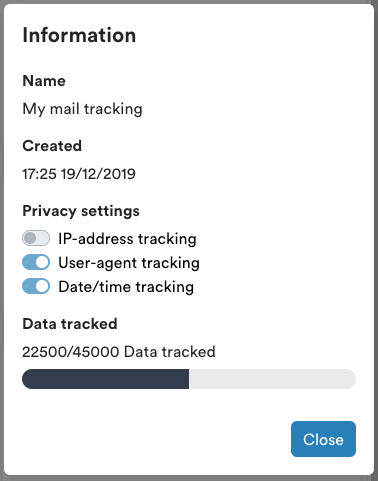 Mail tracking information
