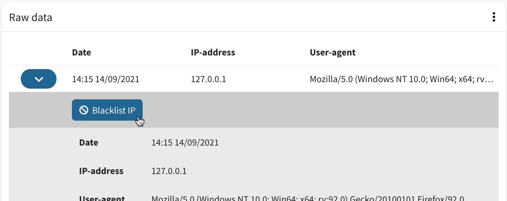 Blacklist IP-address from raw data