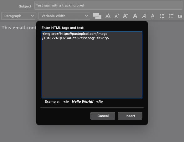 Tracking pixel invoegen in email