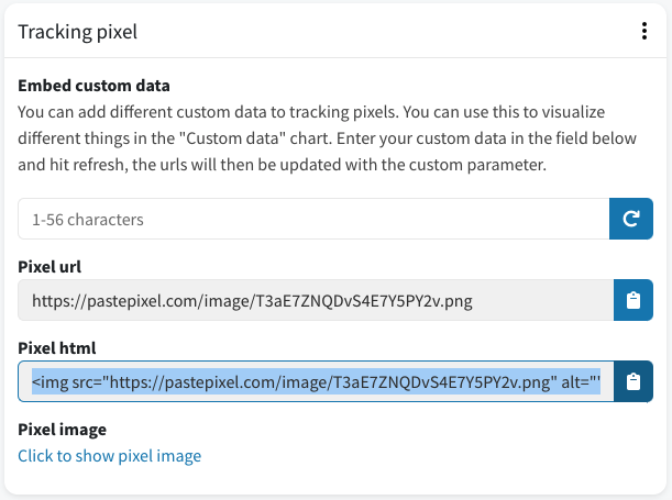 Gegenereerde tracking pixel HTML-code