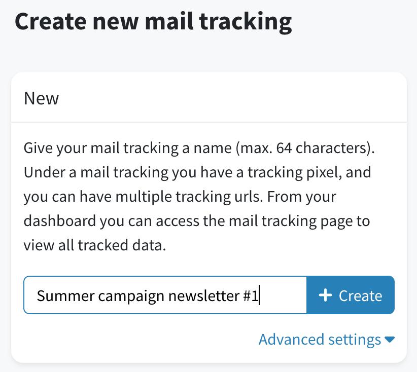 Create new tracking URLs