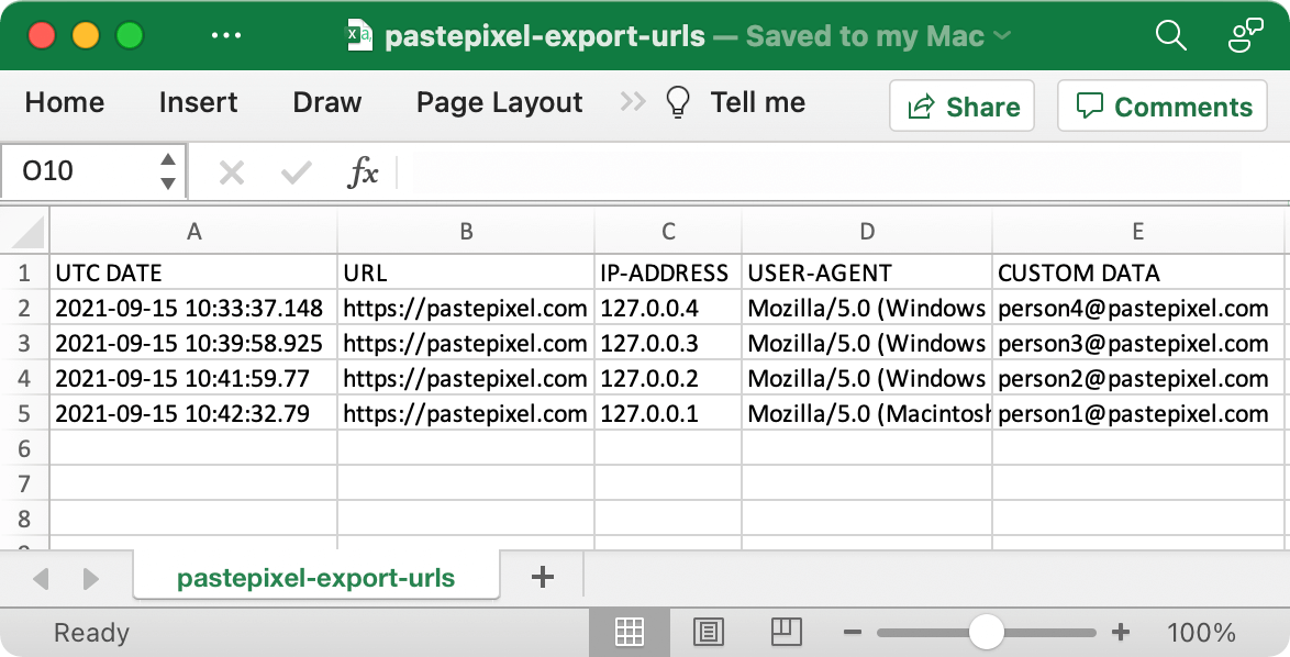 CSV-export of tracking URLs data with email addresses