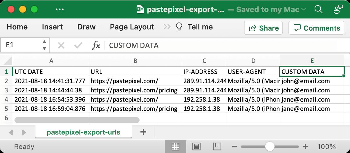 Custom data in CSV export